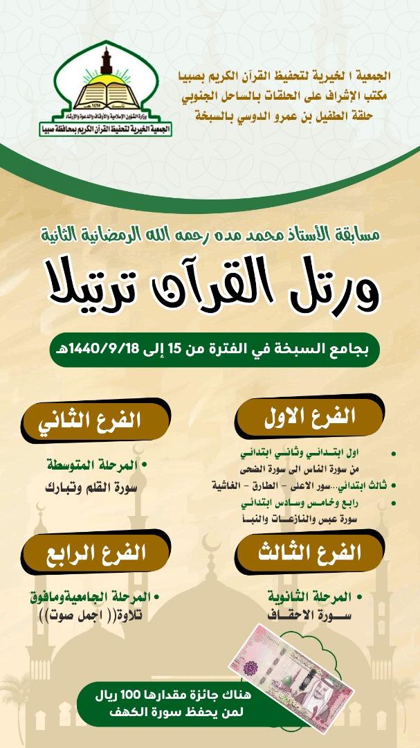 بحضور البدر… اختتام مسابقة الاستاذ محمد مده القرانيه الرمضانيه الثانية بالسبخه