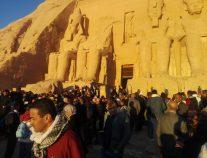 تعامد الشمس على تمثال رمسيس الثاني في أسوان بمصر
