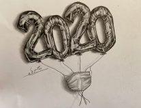 رسمة للفنانة التشكيلية سعيدة الحبسي  تصور الوضع الراهن مع جائحة كورونا